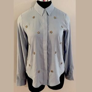 Ann Taylor Button Down Embellished Blouse Top